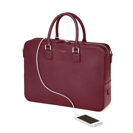 Small Mount Street Bag in Smooth Burgundy from Aspinal of London