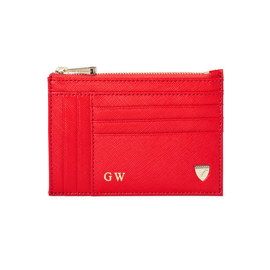 Double Sided Zipped Card & Coin Holder in Scarlet Saffiano from Aspinal of London
