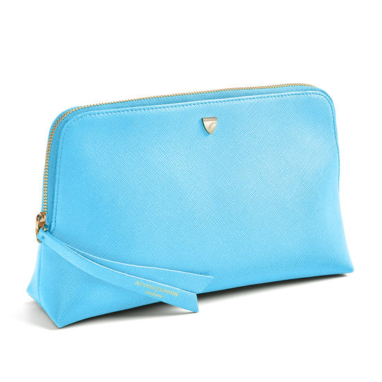 Large Essential Cosmetic Case in Bright Blue Saffiano from Aspinal of London