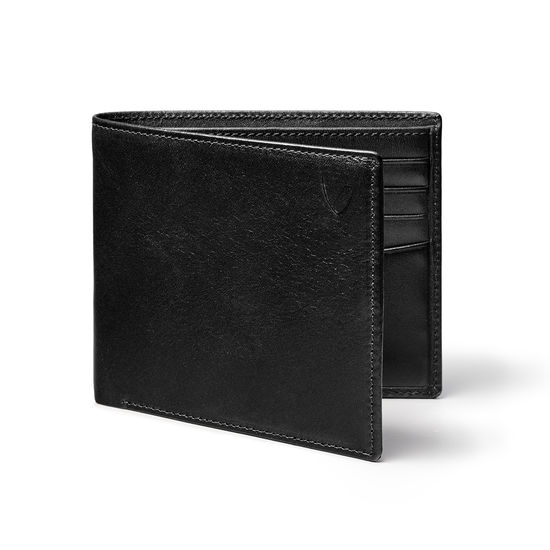 8 Card Billfold Wallet in Smooth Black & Cobalt Suede from Aspinal of London