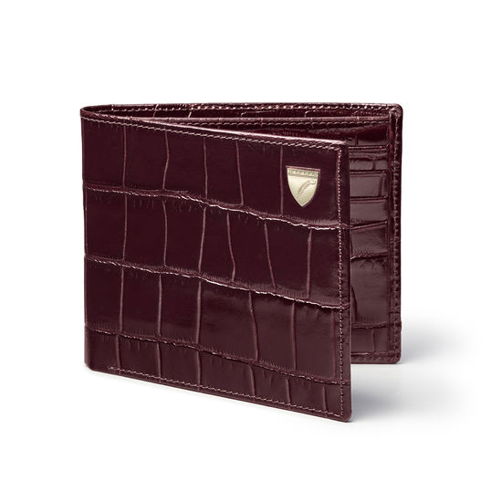8 Card Billfold Wallet in Deep Shine Amazon Brown Croc from Aspinal of London