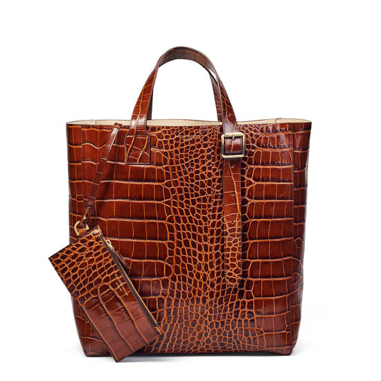 Editor's 'A' Tote in Deep Shine Brown Soft Croc from Aspinal of London