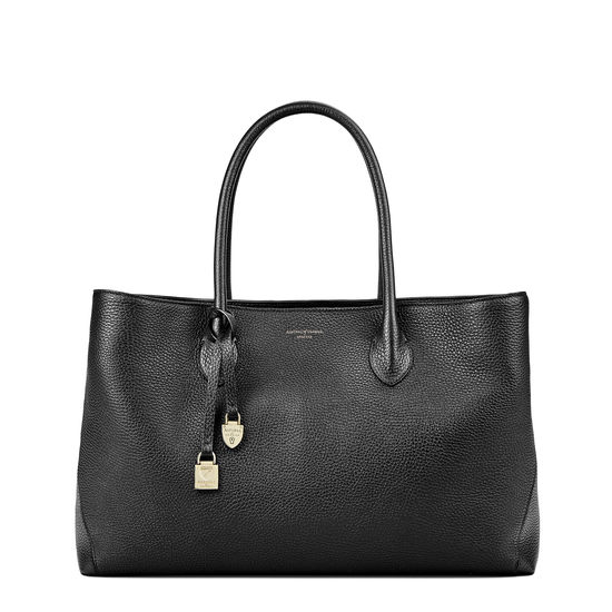 London Tote in Black Pebble from Aspinal of London