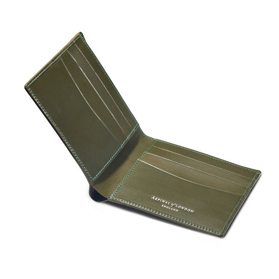 6 Card Billfold Wallet in Sage Saffiano & Smooth Sage from Aspinal of London