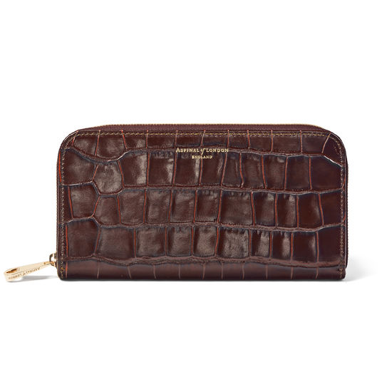 Continental Clutch Zip Wallet in Deep Shine Amazon Brown Croc from Aspinal of London