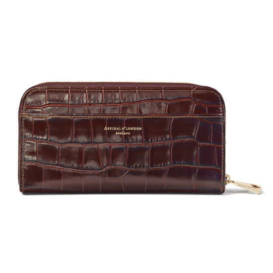 Continental Purse in Deep Shine Amazon Brown Croc from Aspinal of London