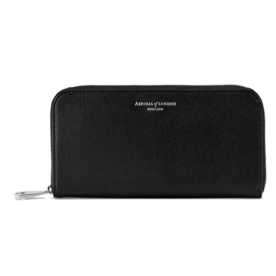 Continental Clutch Zip Wallet in Black Saffiano from Aspinal of London