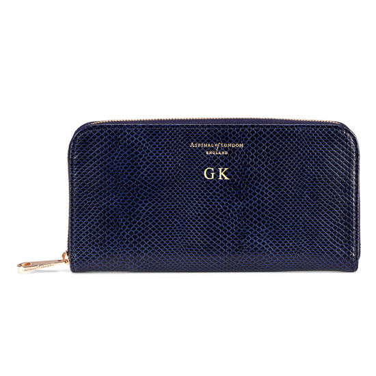 Continental Purse in Midnight Blue Lizard from Aspinal of London