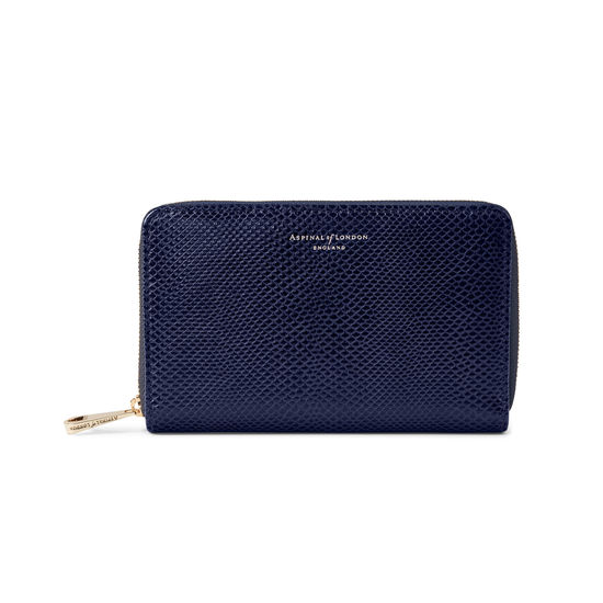 Midi Continental Purse in Midnight Blue Lizard from Aspinal of London