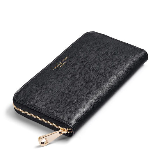 Continental Clutch Zip Wallet in Black Saffiano with Gold Hardware from Aspinal of London