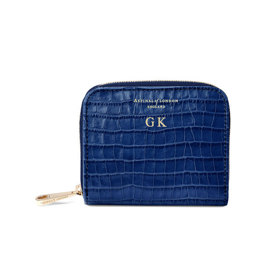 Slim Mini Continental Purse in Deep Shine Blue Small Croc from Aspinal of London