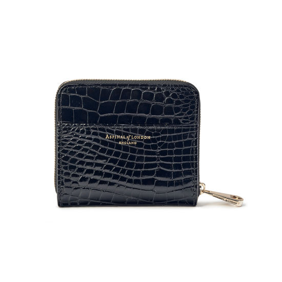 Slim Mini Continental Purse in Black Patent Croc from Aspinal of London