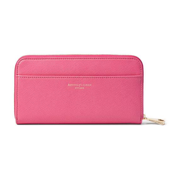 Continental Purse in Bright Pink Saffiano from Aspinal of London