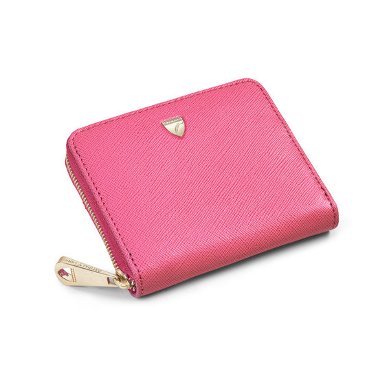 Slim Mini Continental Purse in Bright Pink Saffiano from Aspinal of London