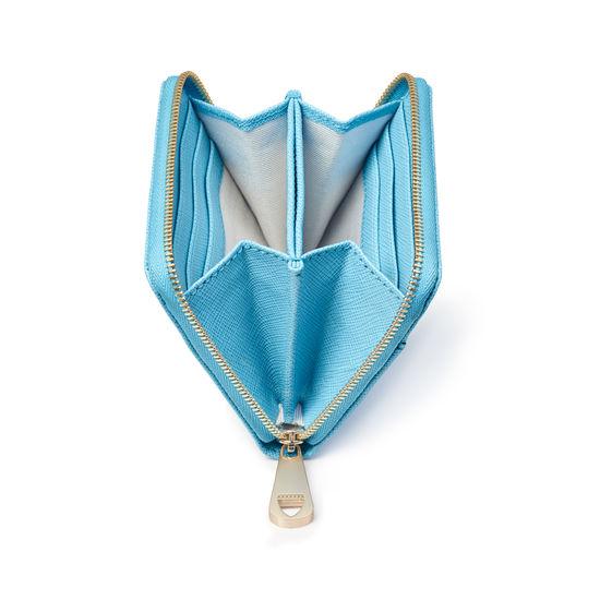 Slim Mini Continental Purse in Bright Blue Saffiano from Aspinal of London