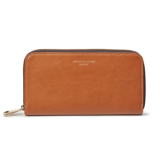 Continental Clutch Zip Wallet in Smooth Tan & Dark Brown from Aspinal of London