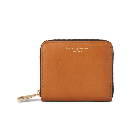 Slim Mini Continental Purse in Smooth Tan & Dark Brown from Aspinal of London