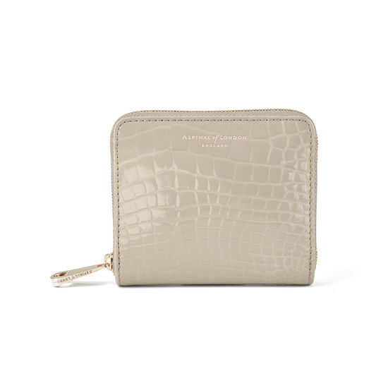 Slim Mini Continental Purse in Soft Taupe Patent Croc from Aspinal of London