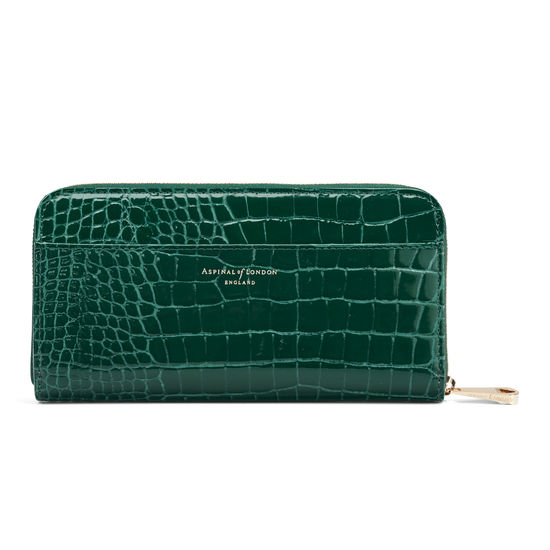 Continental Clutch Zip Wallet in Evergreen Patent Croc from Aspinal of London