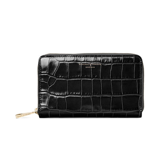 Midi Continental Clutch Zip Wallet in Deep Shine Black Croc from Aspinal of London