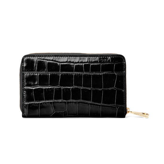 Midi Continental Purse in Deep Shine Black Croc from Aspinal of London