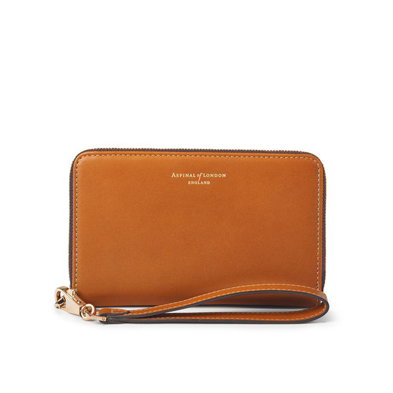 Midi Continental Wallet with Wrist Strap in Smooth Tan & Dark Brown from Aspinal of London