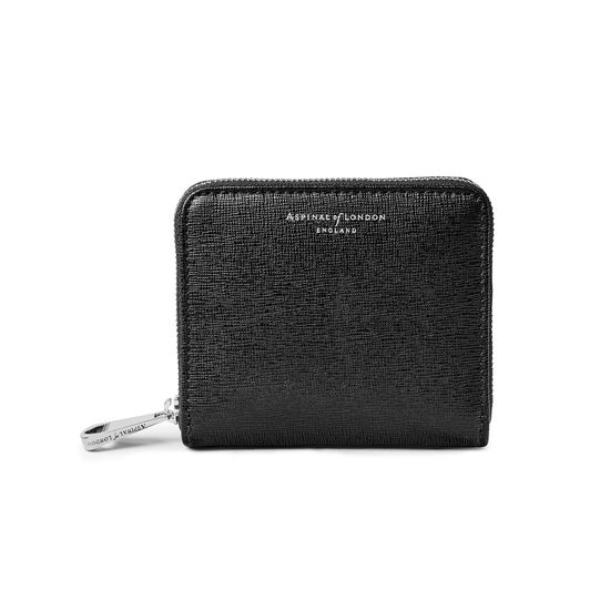 Slim Mini Continental Purse in Black Saffiano from Aspinal of London