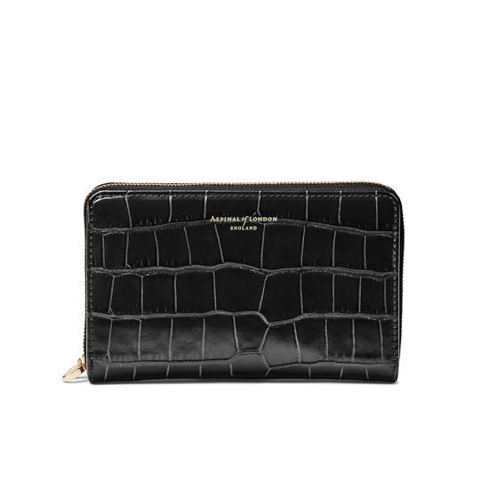 Midi Continental Wallet with Wrist Strap in Deep Shine Black Croc from Aspinal of London