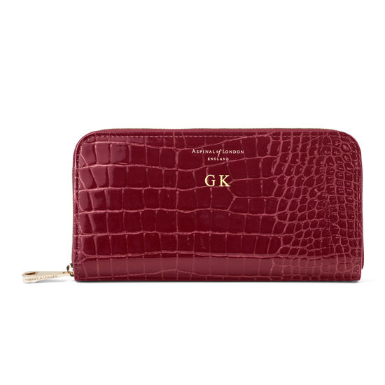 Continental Clutch Zip Wallet in Bordeaux Patent Croc from Aspinal of London