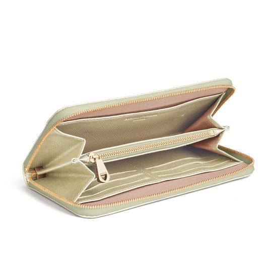 Continental Wallet in Gold Saffiano from Aspinal of London