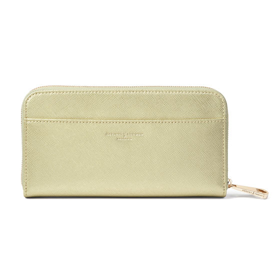 Continental Purse in Gold Saffiano from Aspinal of London