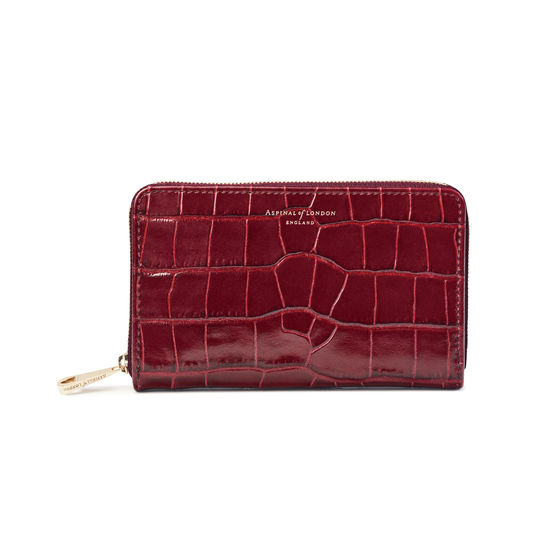 Midi Continental Clutch Zip Wallet in Deep Shine Bordeaux Croc from Aspinal of London