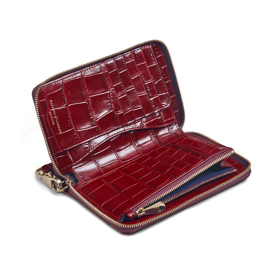 Midi Continental Wallet with Wrist Strap in Deep Shine Bordeaux Croc from Aspinal of London