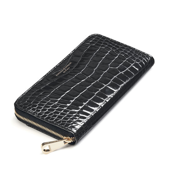 Continental Clutch Zip Wallet in Black Patent Croc from Aspinal of London