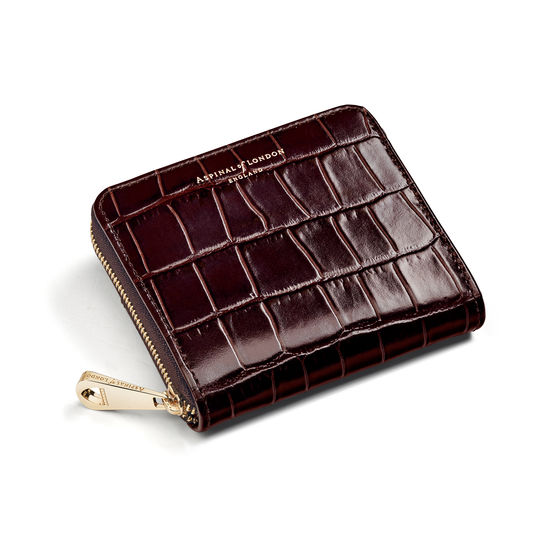 Slim Mini Continental Purse in Deep Shine Amazon Brown Croc from Aspinal of London