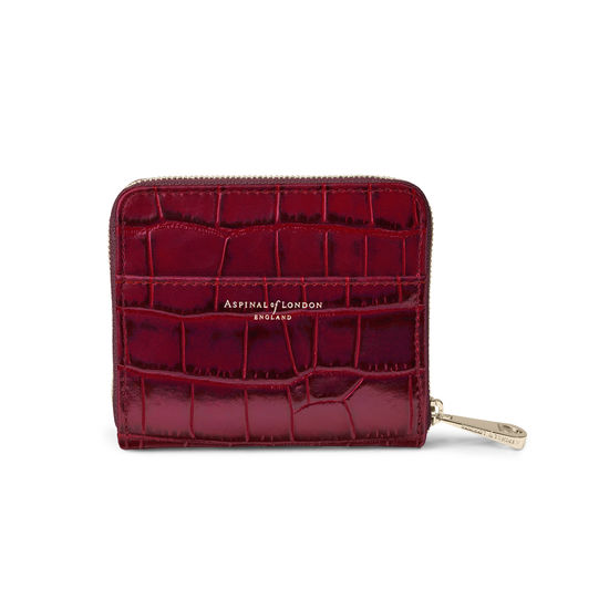 Slim Mini Continental Purse in Deep Shine Bordeaux Croc from Aspinal of London