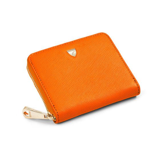 Slim Mini Continental Purse in Bright Orange Saffiano from Aspinal of London