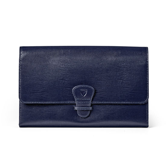 Classic Travel Wallet in Midnight Blue Silk Lizard from Aspinal of London