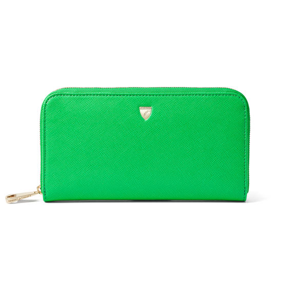 Continental Wallet in Bright Green Saffiano from Aspinal of London