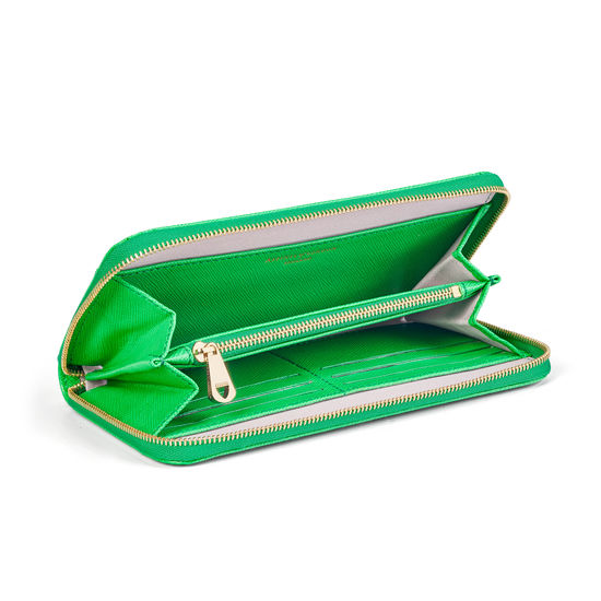 Continental Purse in Bright Green Saffiano from Aspinal of London