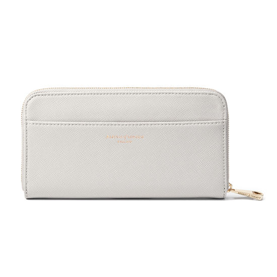 Continental Wallet in Light Grey Saffiano from Aspinal of London