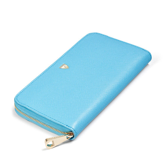 Continental Wallet in Bright Blue Saffiano from Aspinal of London