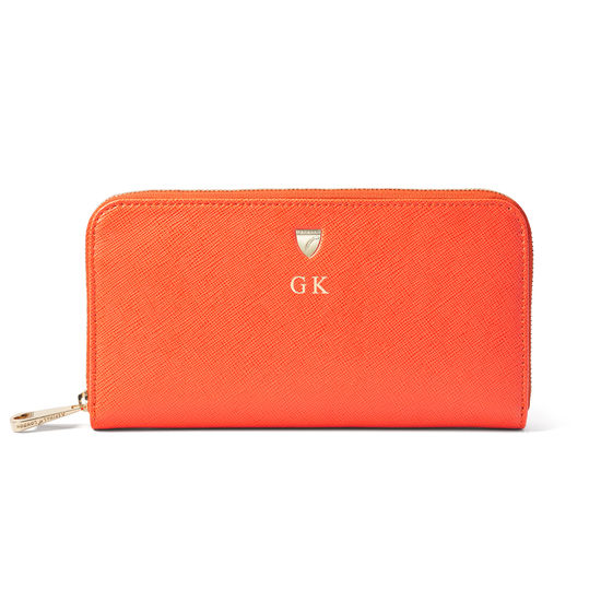 Continental Wallet in Bright Orange Saffiano from Aspinal of London