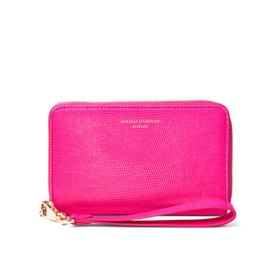 Midi Continental Wallet with Wrist Strap in Penelope Pink Silk Lizard from Aspinal of London