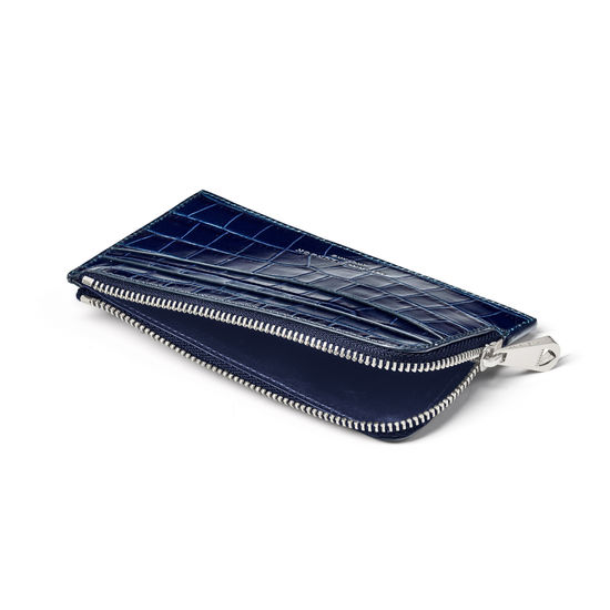 Zipped Card Wallet in Deep Shine Navy Small Croc from Aspinal of London
