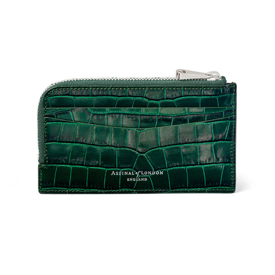 Zipped Card Wallet in Deep Shine British Racing Green Small Croc from Aspinal of London