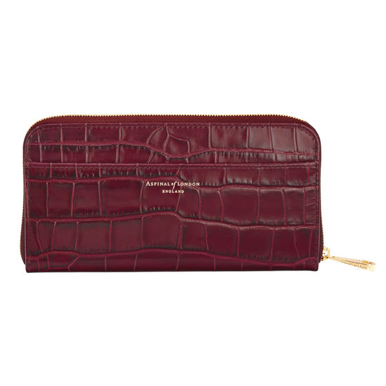 Continental Clutch Zip Wallet in Deep Shine Bordeaux Croc from Aspinal of London