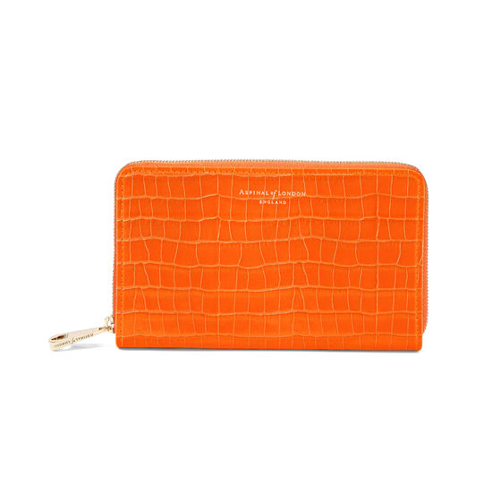 Midi Continental Clutch Zip Wallet in Deep Shine Amber Small Croc from Aspinal of London