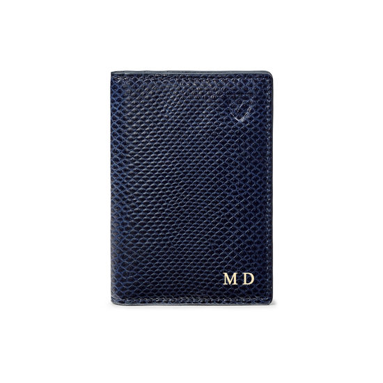 Double Fold Credit Card Holder in Midnight Blue Lizard from Aspinal of London