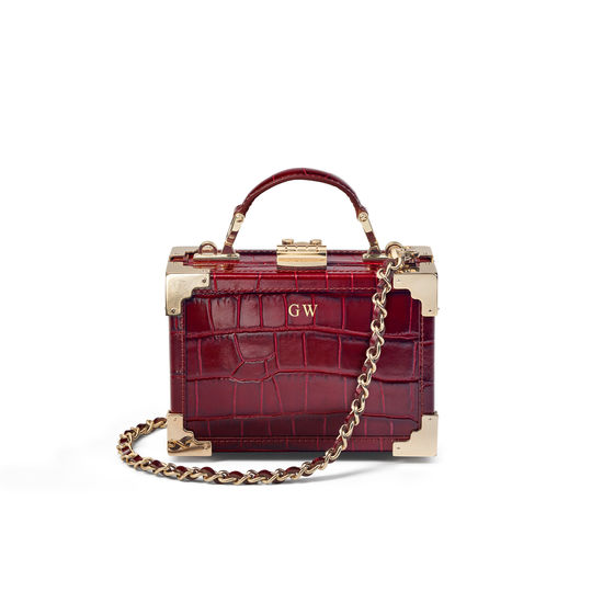 Micro Trunk in Deep Shine Bordeaux Croc from Aspinal of London